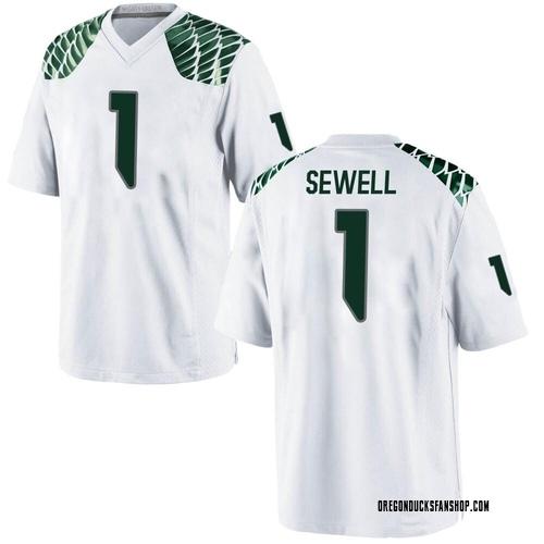 Men's Nike Noah Sewell Oregon Ducks Replica White Football College Jersey