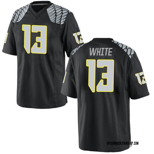 Men's Nike Paul White Oregon Ducks Game White Black Football College Jersey
