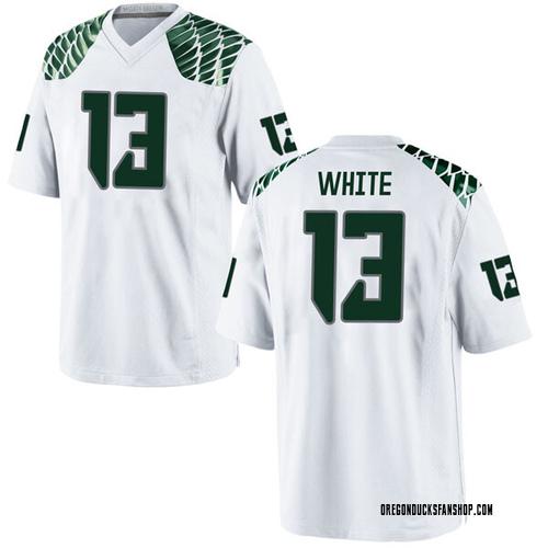 Men's Nike Paul White Oregon Ducks Game White Football College Jersey
