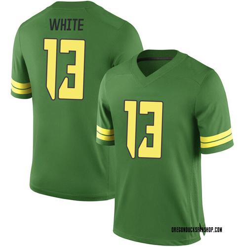 Men's Nike Paul White Oregon Ducks Game White Green Football College Jersey