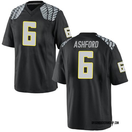 Men's Nike Robby Ashford Oregon Ducks Game Black Football College Jersey