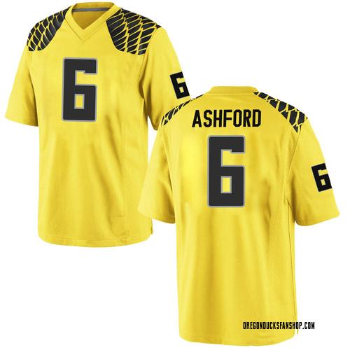Men's Nike Robby Ashford Oregon Ducks Game Gold Football College Jersey