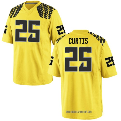 Men's Nike Spencer Curtis Oregon Ducks Game Gold Football College Jersey