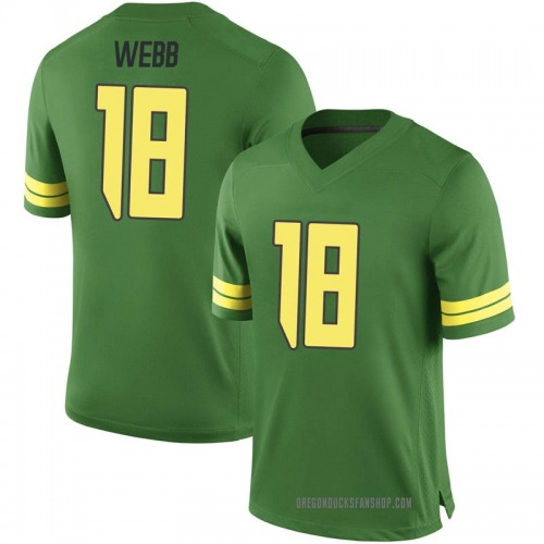 Men's Nike Spencer Webb Oregon Ducks Game Green Football College Jersey
