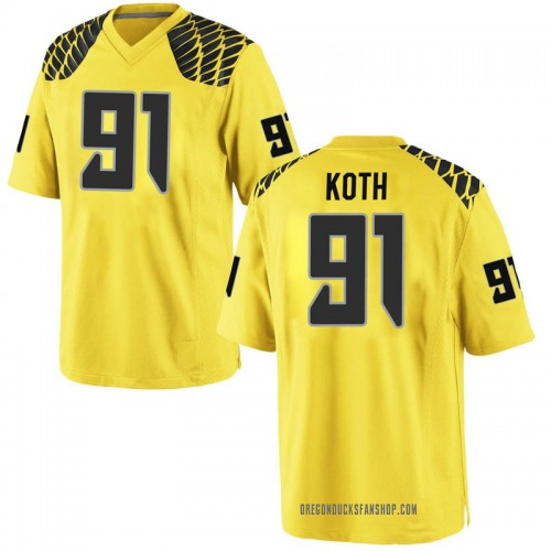Men's Nike Taylor Koth Oregon Ducks Game Gold Football College Jersey