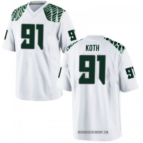 Men's Nike Taylor Koth Oregon Ducks Replica White Football College Jersey