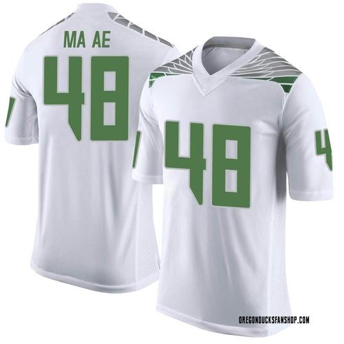 Men's Nike Treven Ma'ae Oregon Ducks Limited White Football College Jersey