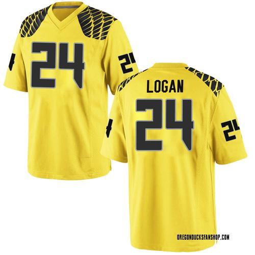 Men's Nike Vincenzo Logan Oregon Ducks Replica Gold Football College Jersey