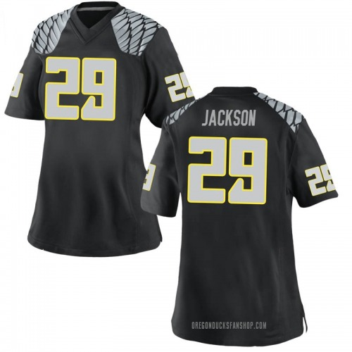 Women's Nike Adrian Jackson Oregon Ducks Replica Black Football College Jersey