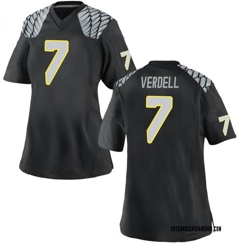 Women's Nike CJ Verdell Oregon Ducks Game Black Football College Jersey