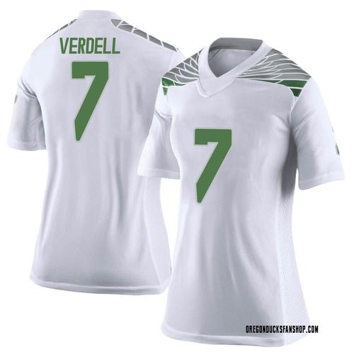Women's Nike CJ Verdell Oregon Ducks Limited White Football College Jersey
