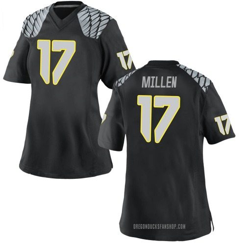 Women's Nike Cale Millen Oregon Ducks Game Black Football College Jersey