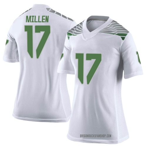 Women's Nike Cale Millen Oregon Ducks Limited White Football College Jersey
