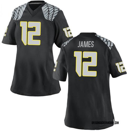 Women's Nike DJ James Oregon Ducks Game Black Football College Jersey