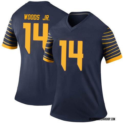 Women's Nike Haki Woods Jr. Oregon Ducks Legend Navy Football College Jersey