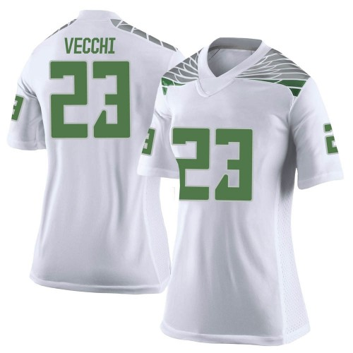 Women's Nike Jack Vecchi Oregon Ducks Limited White Football College Jersey