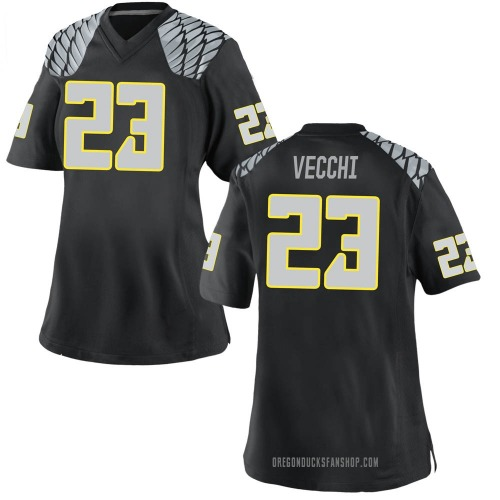 Women's Nike Jack Vecchi Oregon Ducks Replica Black Football College Jersey
