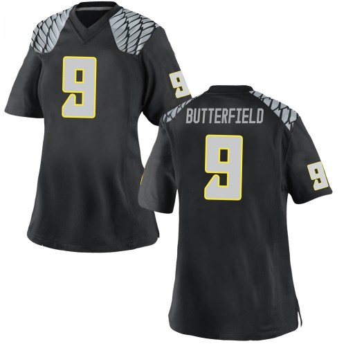 Women's Nike Jay Butterfield Oregon Ducks Replica Black Football College Jersey