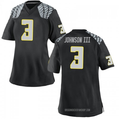 Women's Nike Johnny Johnson III Oregon Ducks Replica Black Football College Jersey
