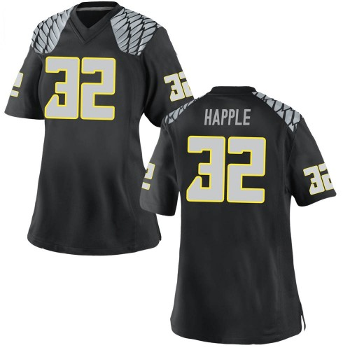 Women's Nike Jordan Happle Oregon Ducks Replica Black Football College Jersey