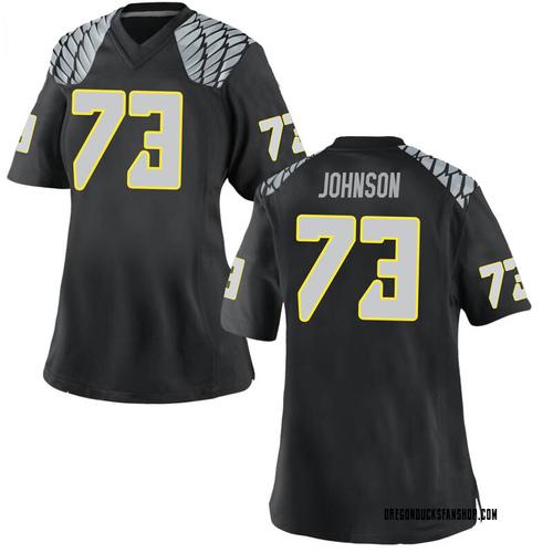 Women's Nike Justin Johnson Oregon Ducks Replica Black Football College Jersey