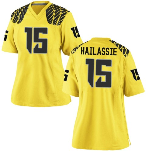 Women's Nike Kahlef Hailassie Oregon Ducks Game Gold Football College Jersey