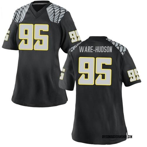 Women's Nike Keyon Ware-Hudson Oregon Ducks Replica Black Football College Jersey