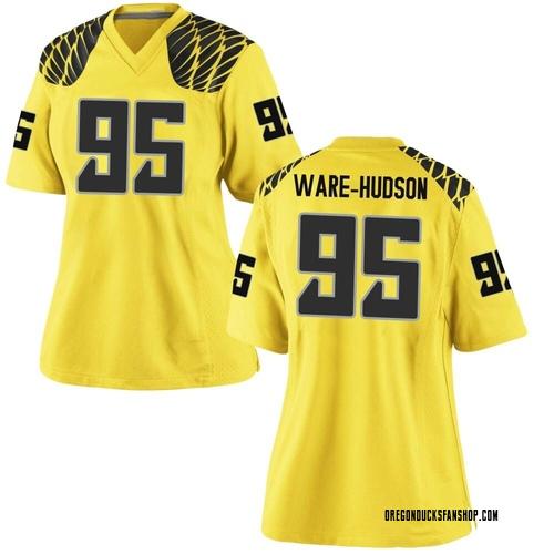 Women's Nike Keyon Ware-Hudson Oregon Ducks Replica Gold Football College Jersey