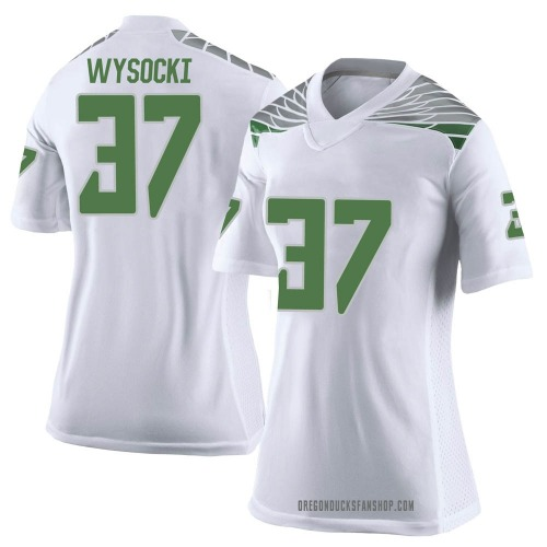 Women's Nike Max Wysocki Oregon Ducks Limited White Football College Jersey