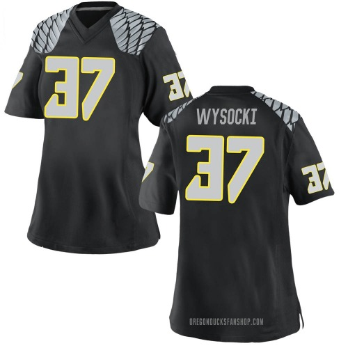 Women's Nike Max Wysocki Oregon Ducks Replica Black Football College Jersey