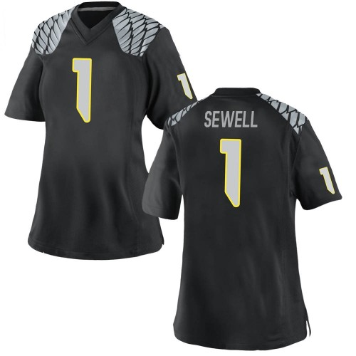 Women's Nike Noah Sewell Oregon Ducks Game Black Football College Jersey