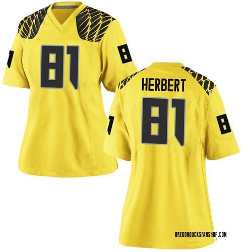 Women's Nike Patrick Herbert Oregon Ducks Replica Gold Football College Jersey
