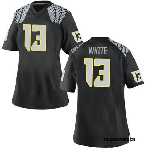 Women's Nike Paul White Oregon Ducks Game White Black Football College Jersey