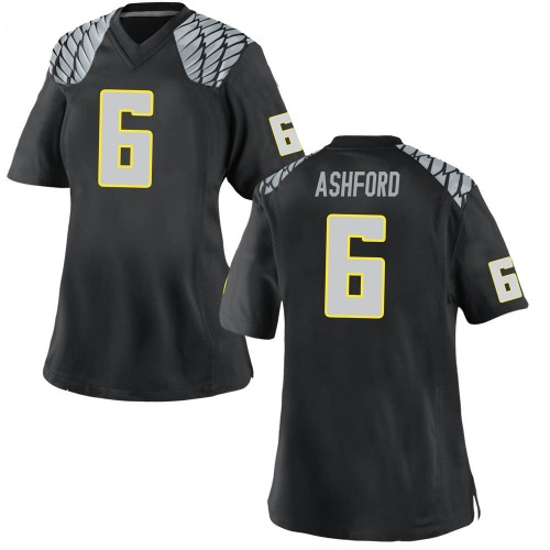 Women's Nike Robby Ashford Oregon Ducks Replica Black Football College Jersey
