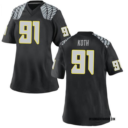 Women's Nike Taylor Koth Oregon Ducks Replica Black Football College Jersey