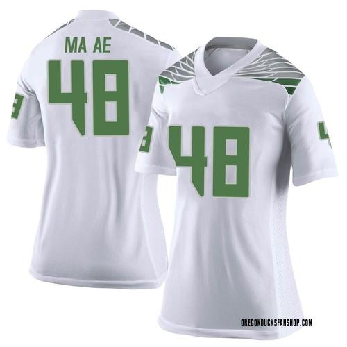 Women's Nike Treven Ma'ae Oregon Ducks Limited White Football College Jersey