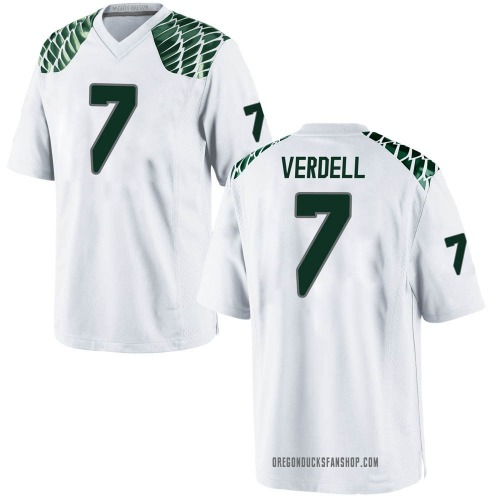 Youth Nike CJ Verdell Oregon Ducks Game White Football College Jersey