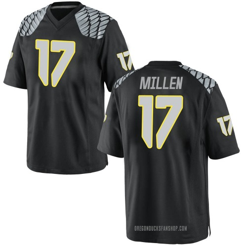 Youth Nike Cale Millen Oregon Ducks Game Black Football College Jersey