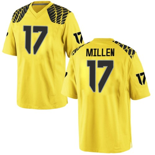 Youth Nike Cale Millen Oregon Ducks Game Gold Football College Jersey