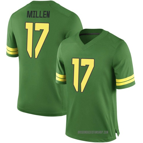 Youth Nike Cale Millen Oregon Ducks Game Green Football College Jersey