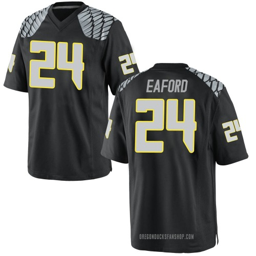 Youth Nike Ge'mon Eaford Oregon Ducks Game Black Football College Jersey