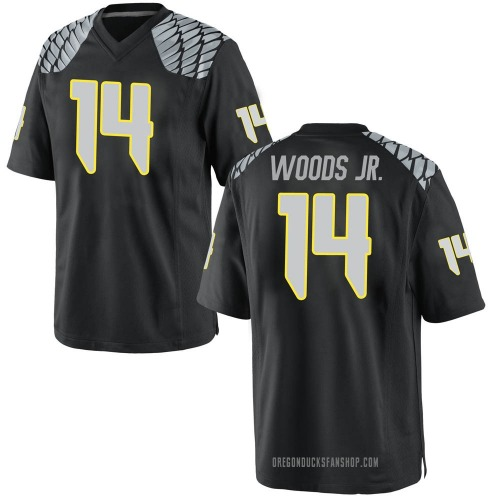 Youth Nike Haki Woods Jr. Oregon Ducks Game Black Football College Jersey
