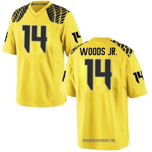 Youth Nike Haki Woods Jr. Oregon Ducks Game Gold Football College Jersey