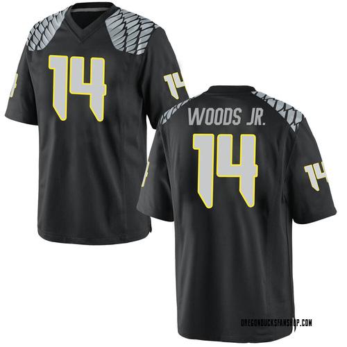 Youth Nike Haki Woods Jr. Oregon Ducks Replica Black Football College Jersey