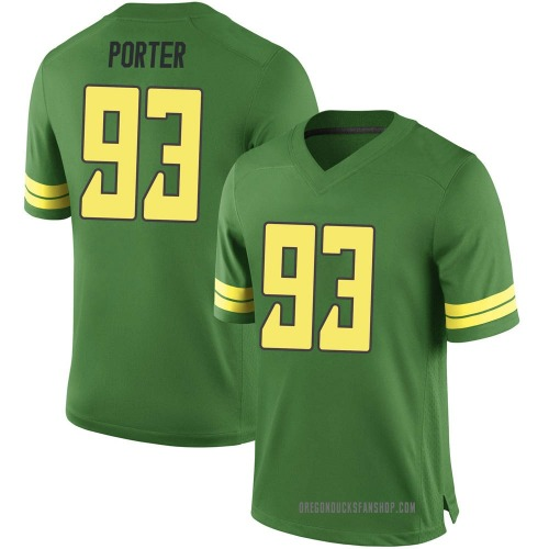 Youth Nike Isaia Porter Oregon Ducks Game Green Football College Jersey