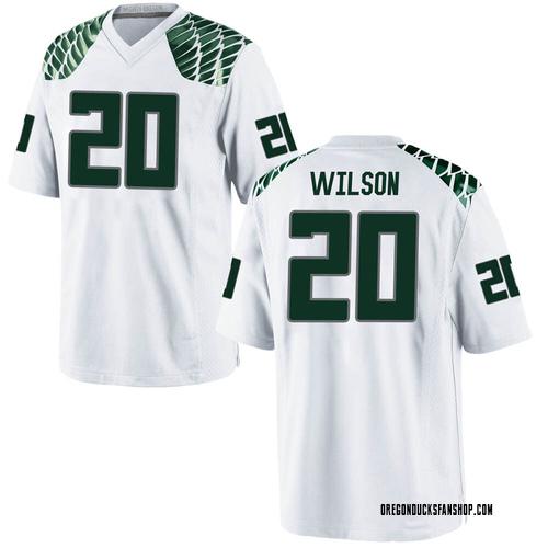 Youth Nike Jayvaun Wilson Oregon Ducks Replica White Football College Jersey