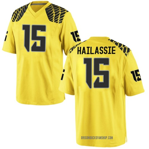 Youth Nike Kahlef Hailassie Oregon Ducks Game Gold Football College Jersey