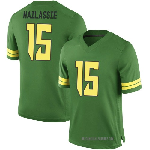 Youth Nike Kahlef Hailassie Oregon Ducks Game Green Football College Jersey