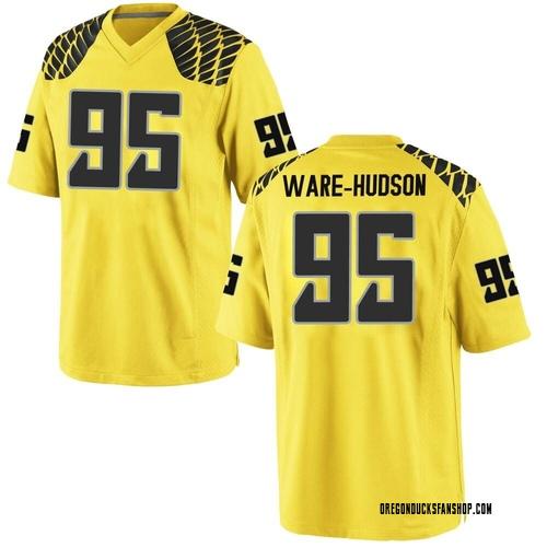 Youth Nike Keyon Ware-Hudson Oregon Ducks Game Gold Football College Jersey