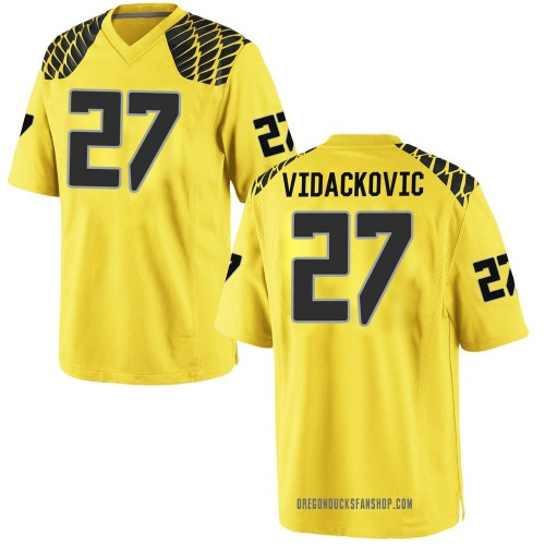 Youth Nike Marko Vidackovic Oregon Ducks Game Gold Football College Jersey
